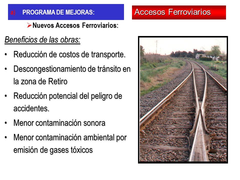 Beneficios de las obras: Reducción de costos de transporte.