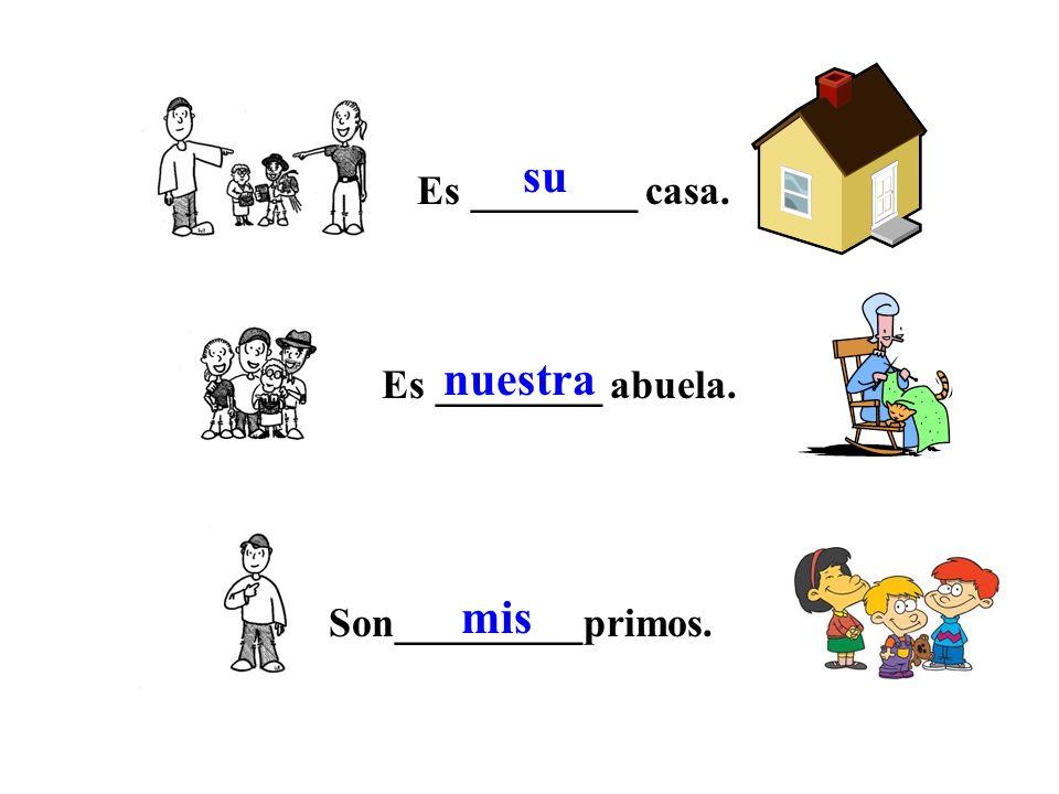su nuestra mis Es ________ casa. Es ________ abuela.