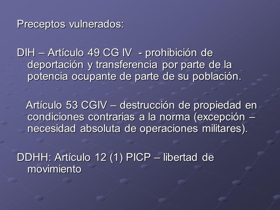 Preceptos vulnerados: