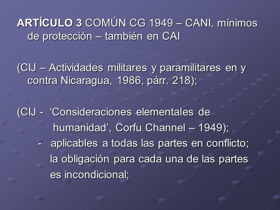 ARTÍCULO 3 COMÚN CG 1949 – CANI, mínimos de protección – también en CAI