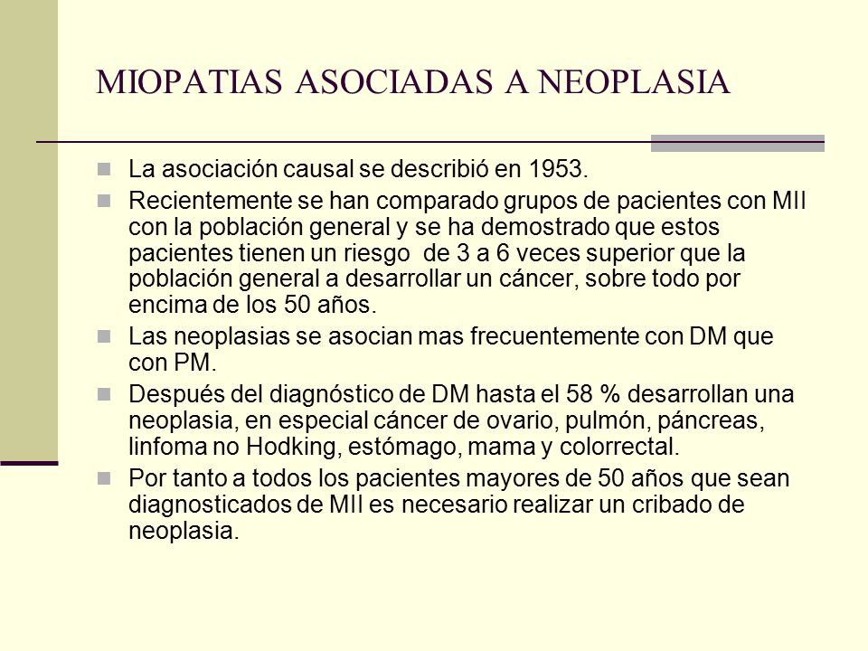 MIOPATIAS ASOCIADAS A NEOPLASIA