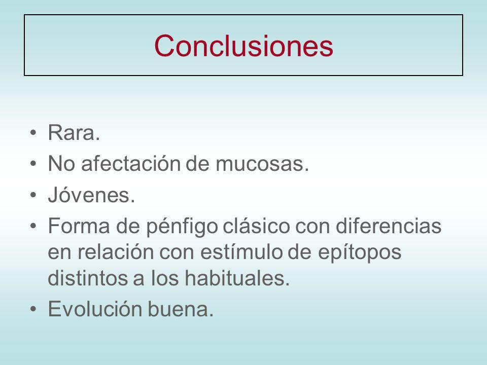 Conclusiones Rara. No afectación de mucosas. Jóvenes.