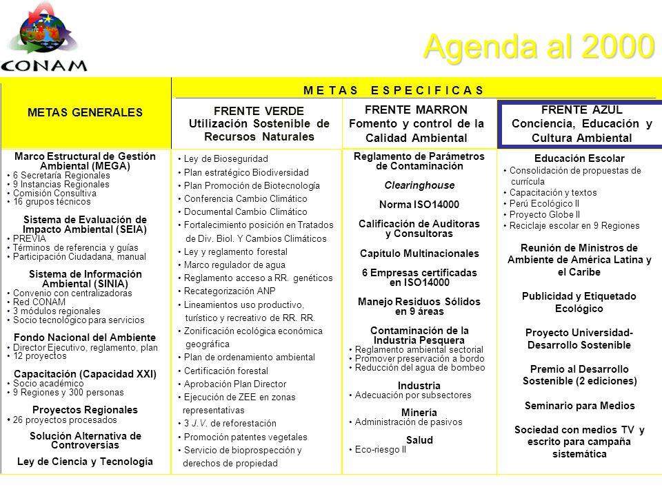 Agenda al 2000 M E T A S E S P E C I F I C A S METAS GENERALES