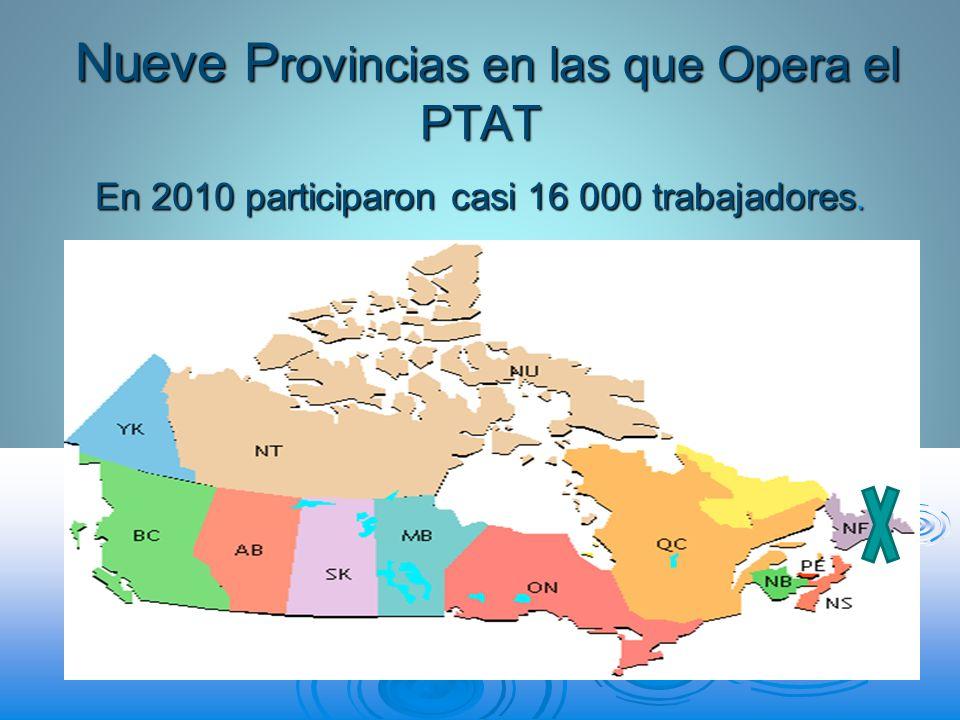 Nueve Provincias en las que Opera el PTAT