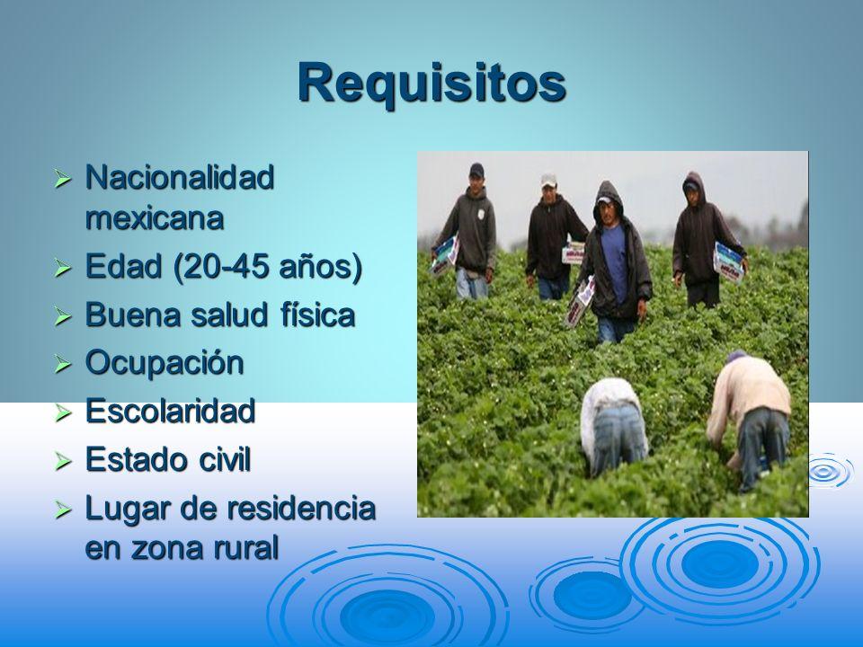 Requisitos Nacionalidad mexicana Edad (20-45 años) Buena salud física