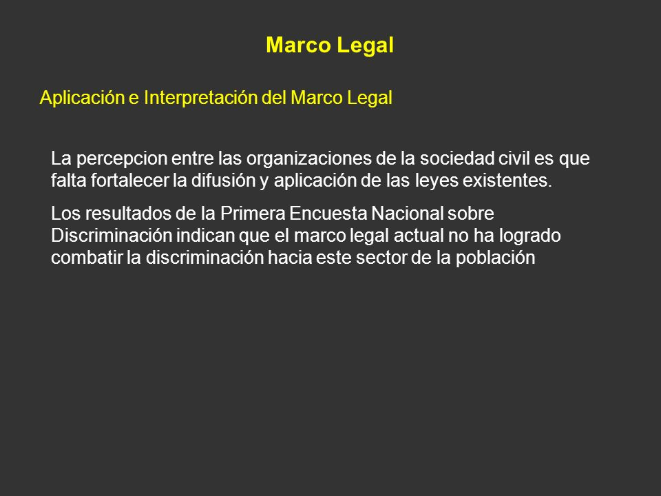 Marco Legal Aplicación e Interpretación del Marco Legal