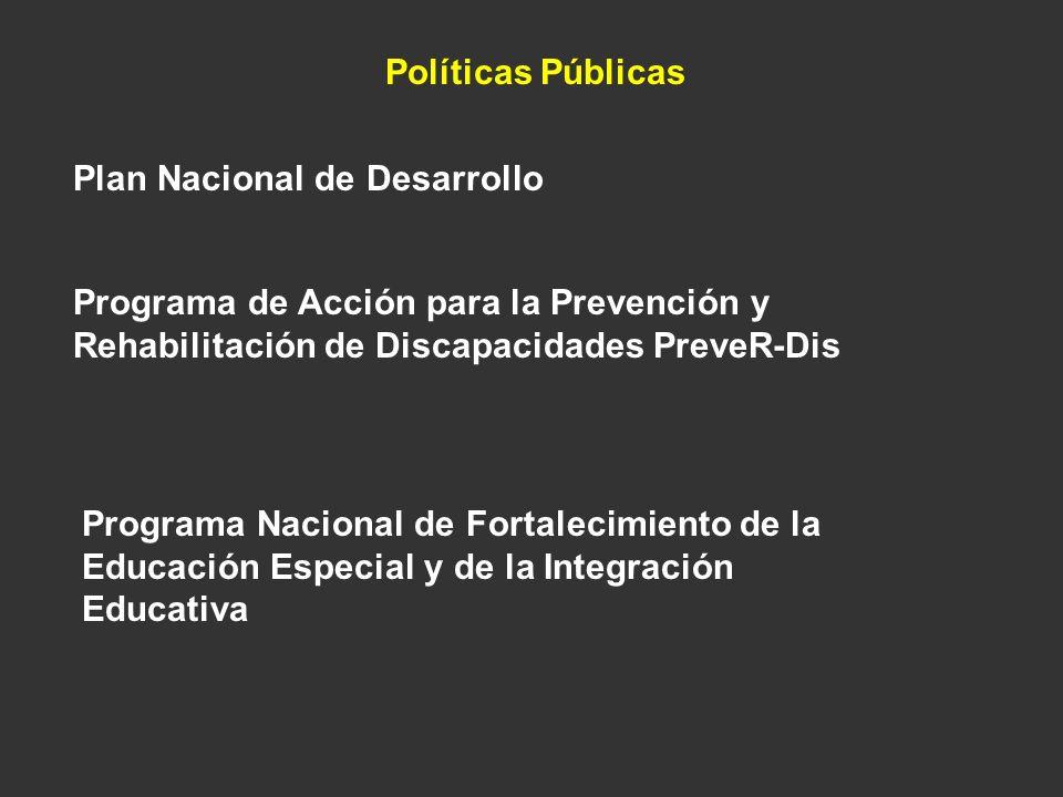 Políticas Públicas Plan Nacional de Desarrollo. Programa de Acción para la Prevención y Rehabilitación de Discapacidades PreveR-Dis.
