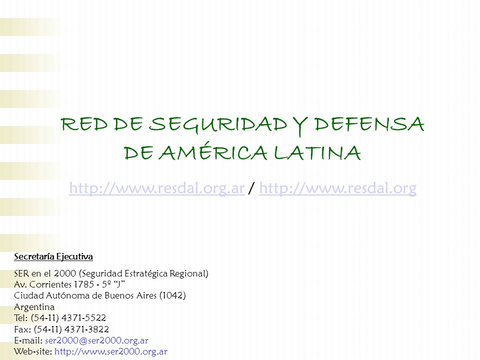 RED DE SEGURIDAD Y DEFENSA DE AMÉRICA LATINA
