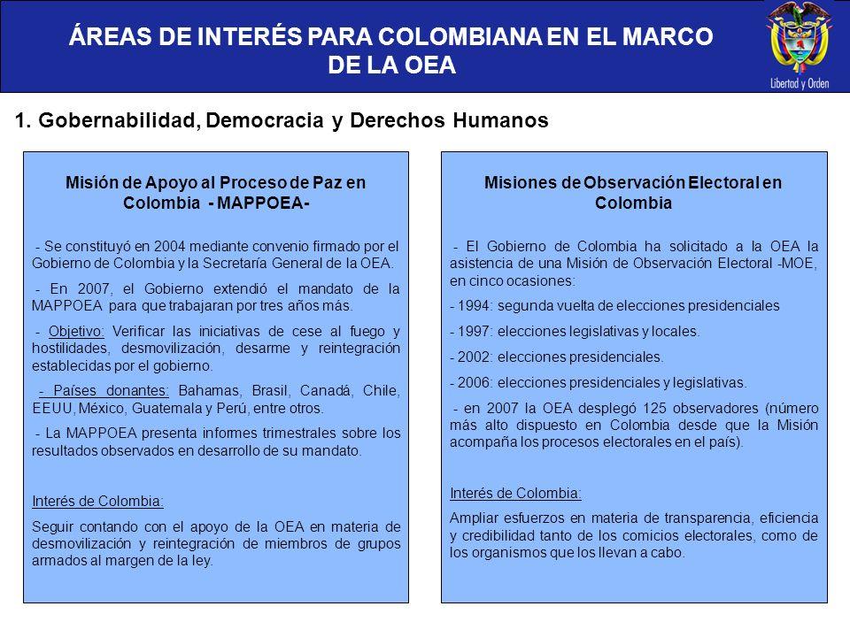 ÁREAS DE INTERÉS PARA COLOMBIANA EN EL MARCO DE LA OEA