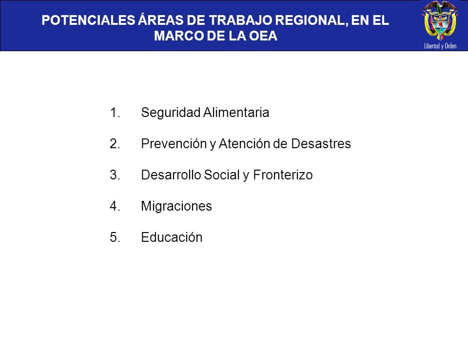 POTENCIALES ÁREAS DE TRABAJO REGIONAL, EN EL MARCO DE LA OEA
