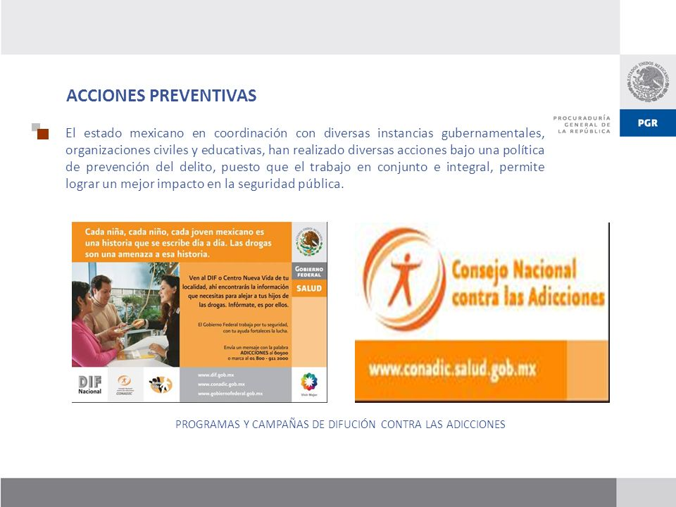 PROGRAMAS Y CAMPAÑAS DE DIFUCIÓN CONTRA LAS ADICCIONES