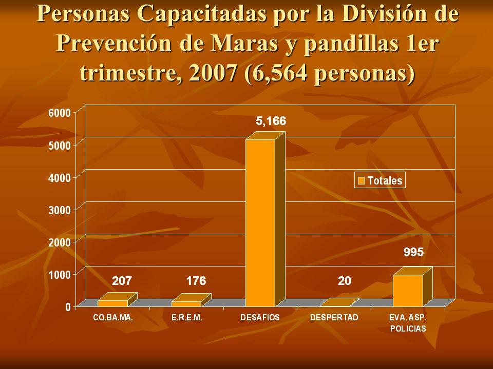 Personas Capacitadas por la División de Prevención de Maras y pandillas 1er trimestre, 2007 (6,564 personas)