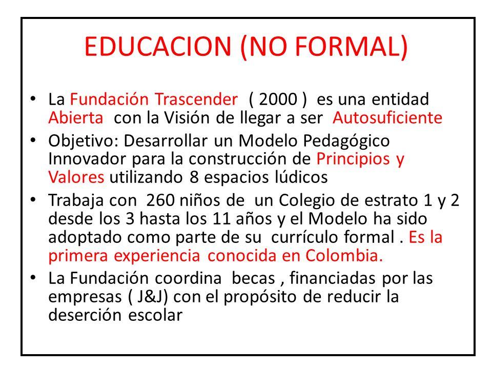EDUCACION (NO FORMAL)La Fundación Trascender ( 2000 ) es una entidad Abierta con la Visión de llegar a ser Autosuficiente.