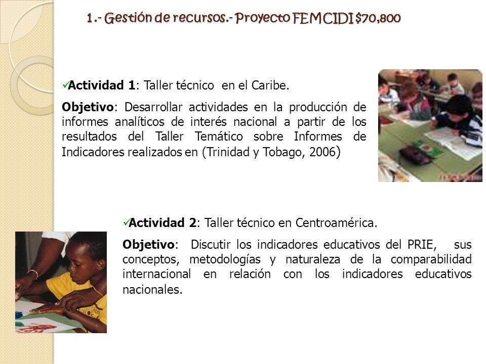 1.- Gestión de recursos.- Proyecto FEMCIDI $70,800
