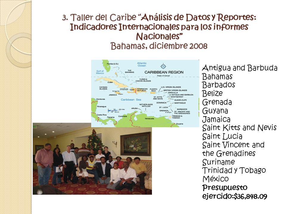 3. Taller del Caribe Análisis de Datos y Reportes: Indicadores Internacionales para los informes Nacionales Bahamas, diciembre 2008