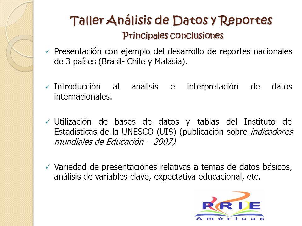Taller Análisis de Datos y Reportes Principales conclusiones
