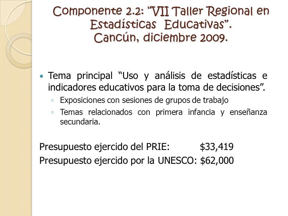 Componente 2. 2: VII Taller Regional en Estadísticas Educativas