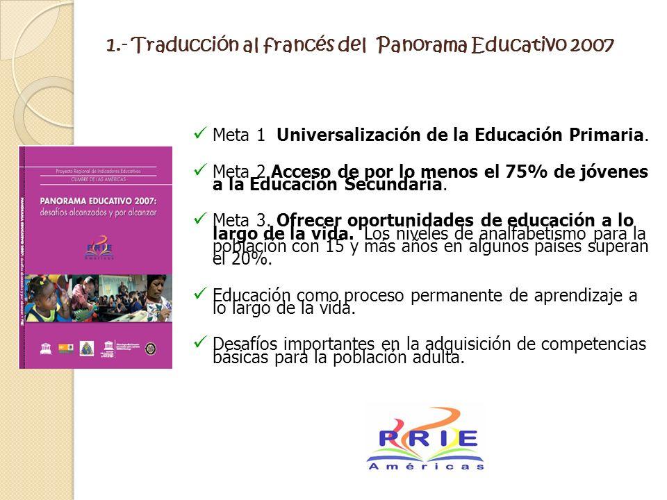 1.- Traducción al francés del Panorama Educativo 2007