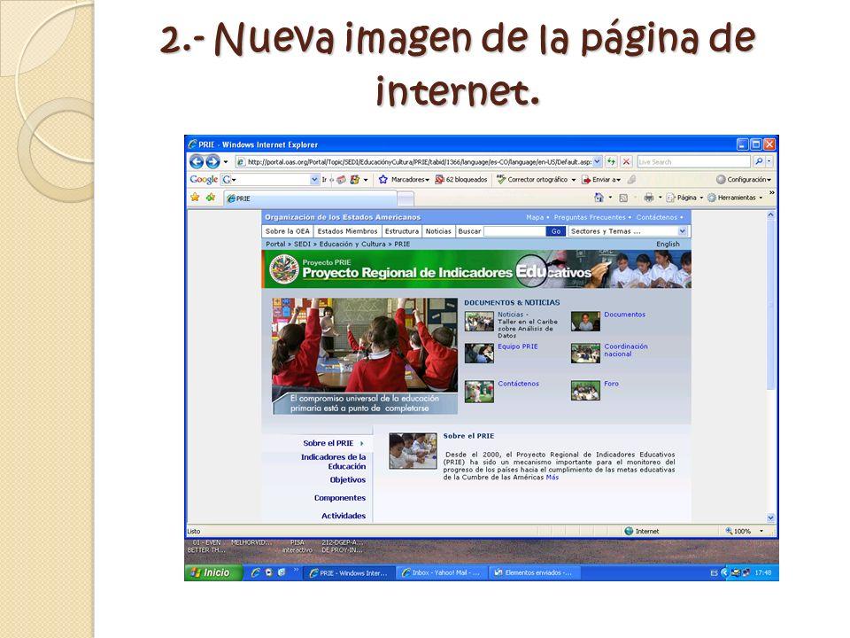 2.- Nueva imagen de la página de internet.