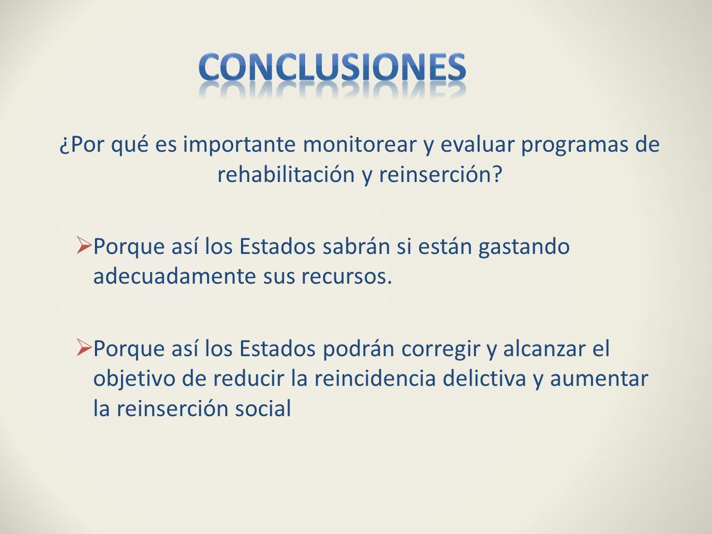 Conclusiones ¿Por qué es importante monitorear y evaluar programas de rehabilitación y reinserción