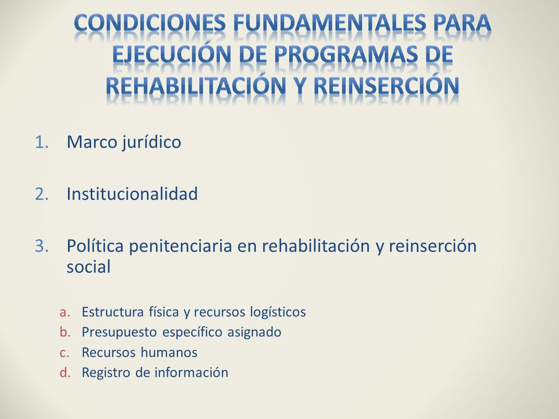 Condiciones fundamentales para ejecución de programas de rehabilitación y reinserción