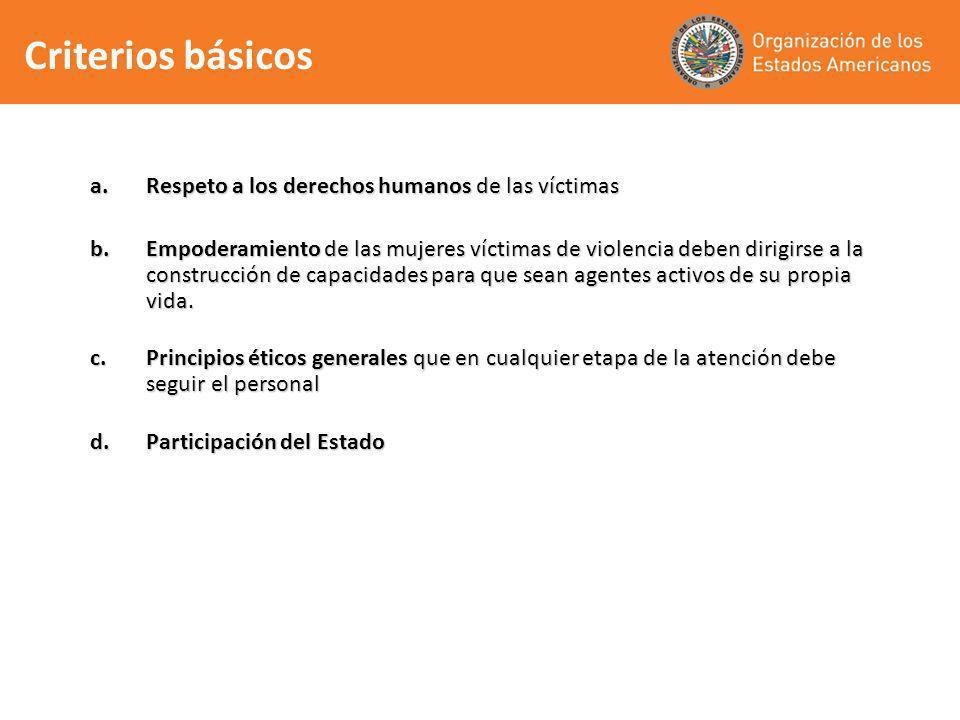 Criterios básicos Respeto a los derechos humanos de las víctimas
