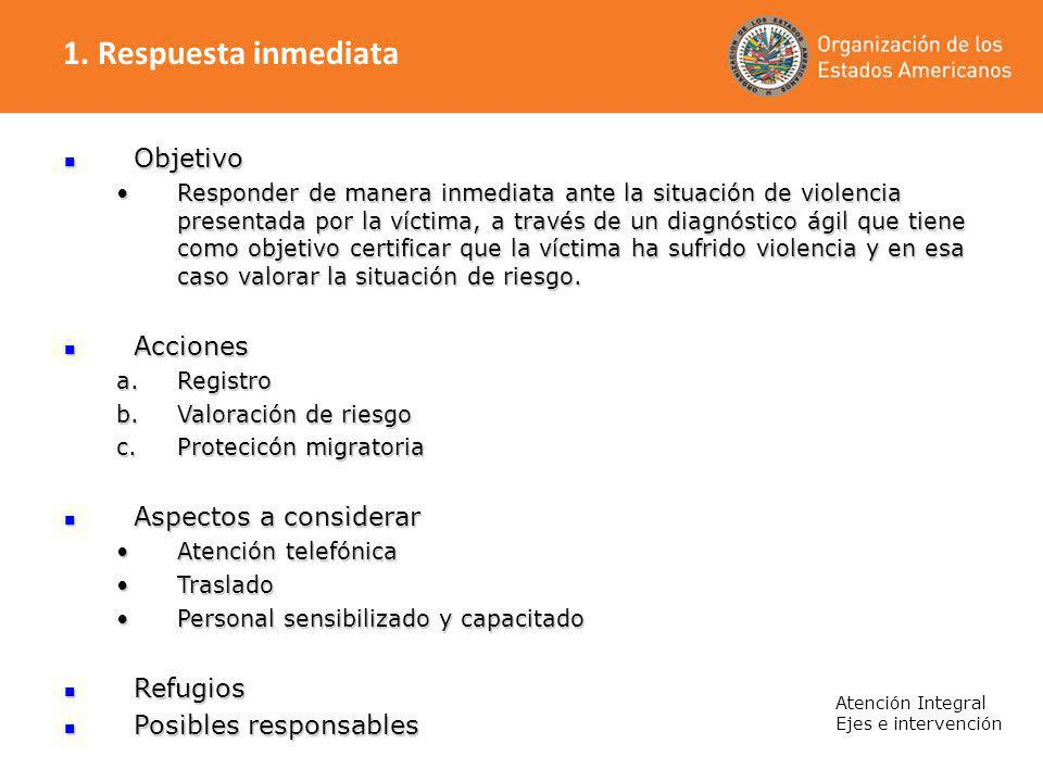 1. Respuesta inmediata Objetivo Acciones Aspectos a considerar
