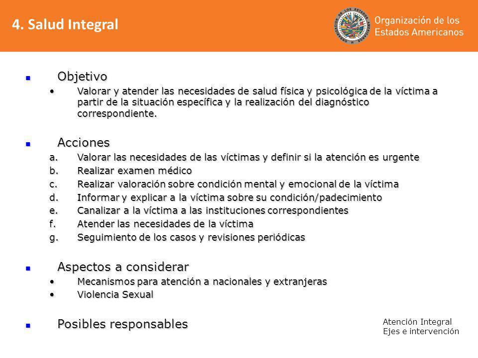 4. Salud Integral Objetivo Acciones Aspectos a considerar