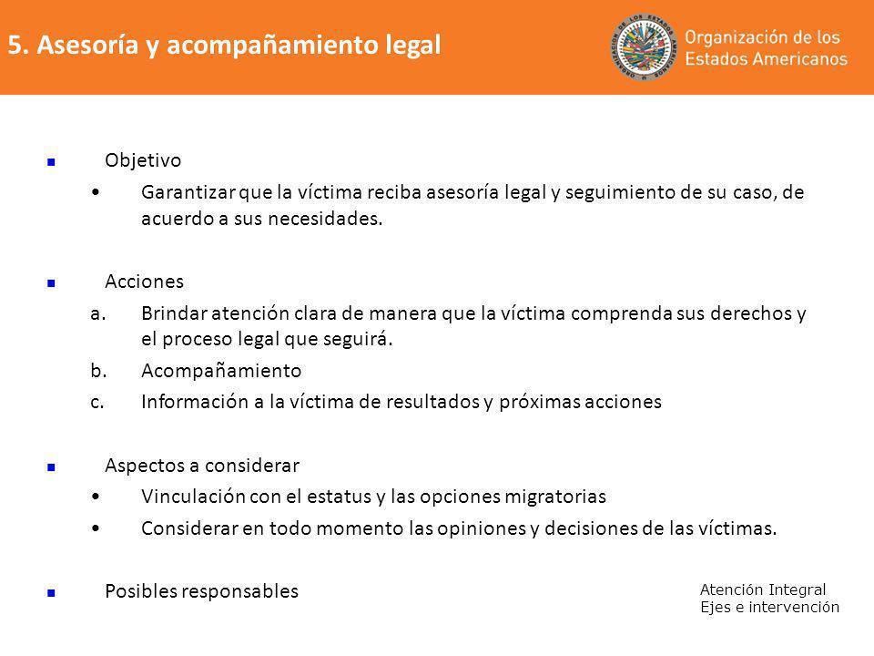 5. Asesoría y acompañamiento legal
