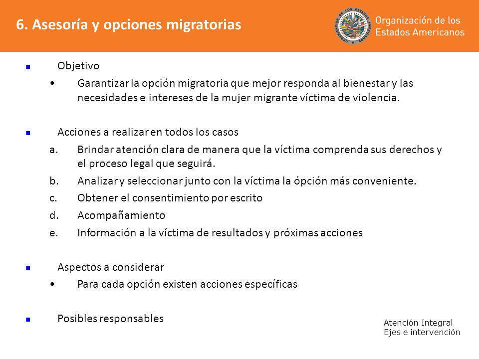 6. Asesoría y opciones migratorias