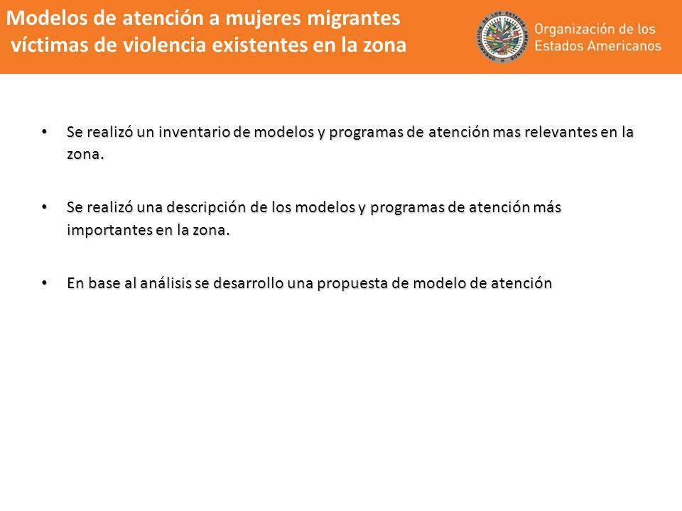 Modelos de atención a mujeres migrantes víctimas de violencia existentes en la zona