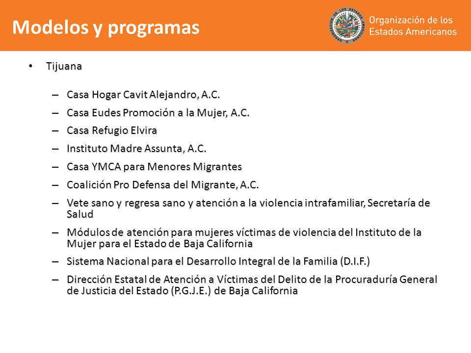 Modelos y programas Tijuana Casa Hogar Cavit Alejandro, A.C.