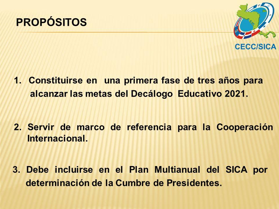 PROPÓSITOS 1. Constituirse en una primera fase de tres años para alcanzar las metas del Decálogo Educativo 2021.