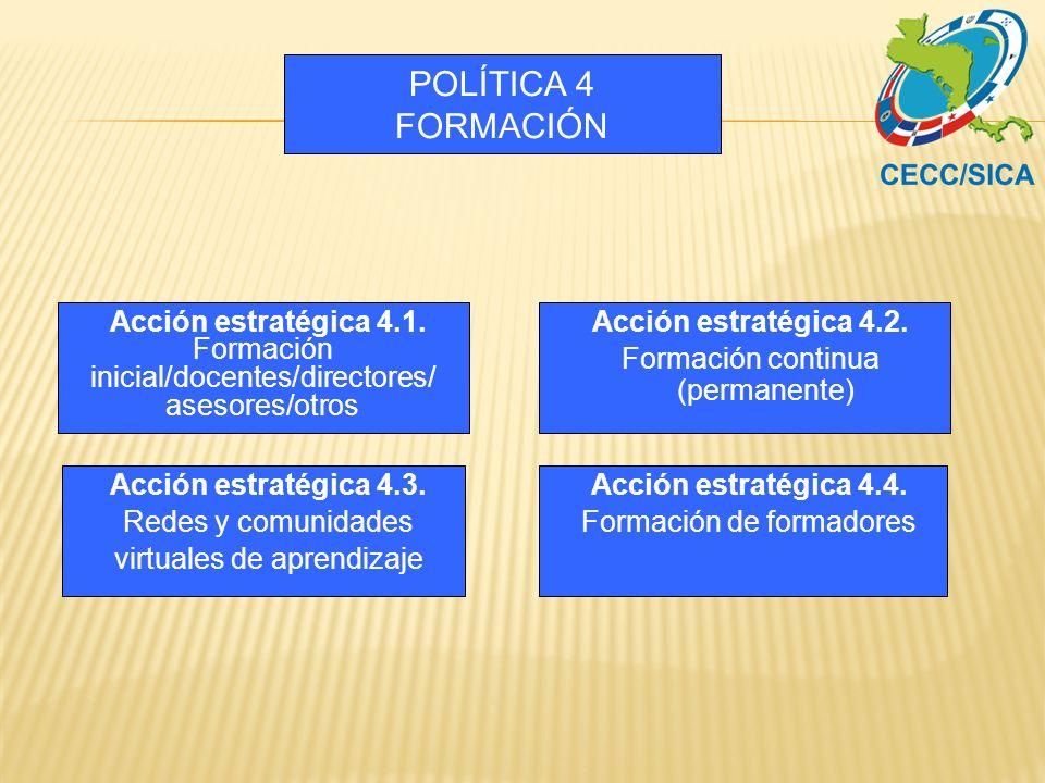 POLÍTICA 4 FORMACIÓN Acción estratégica 4.1.