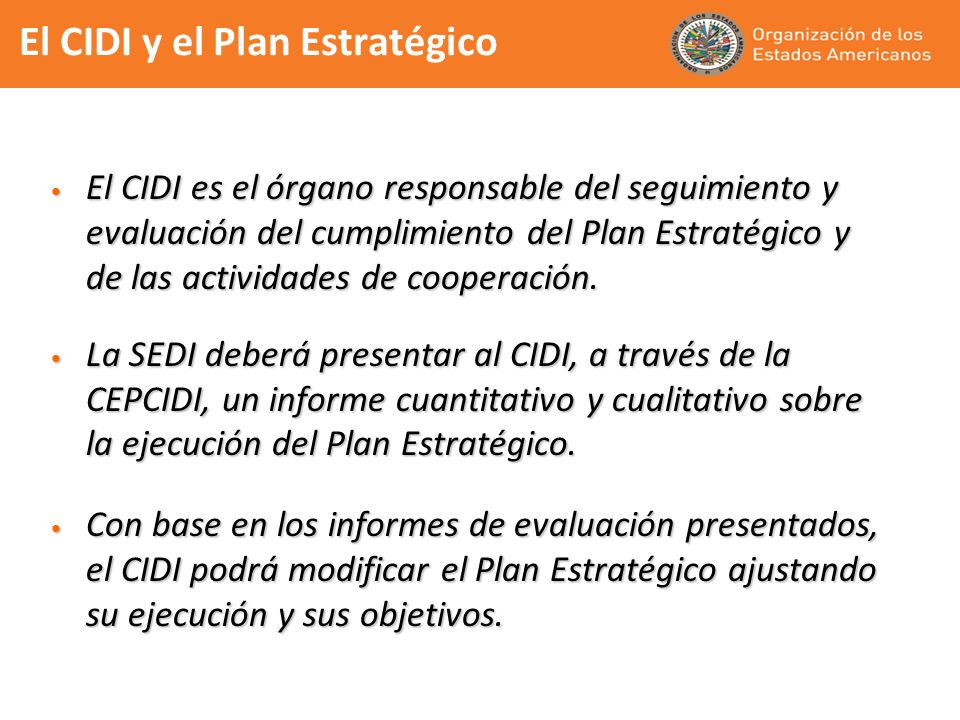 El CIDI y el Plan Estratégico