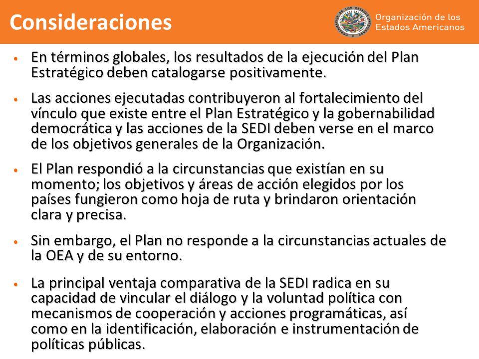 Consideraciones En términos globales, los resultados de la ejecución del Plan Estratégico deben catalogarse positivamente.
