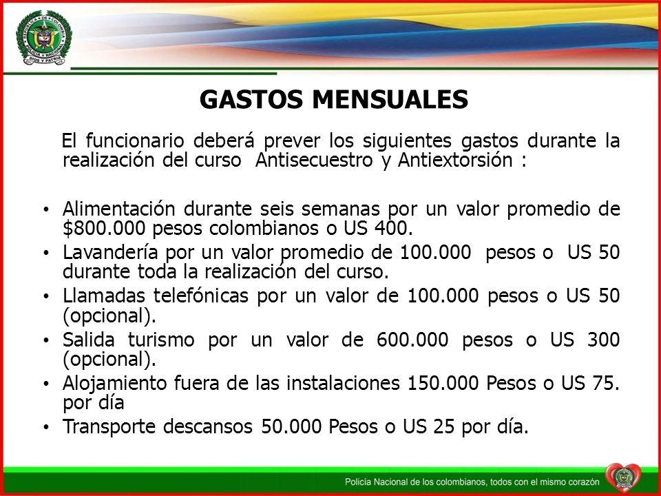 GASTOS MENSUALESEl funcionario deberá prever los siguientes gastos durante la realización del curso Antisecuestro y Antiextorsión :