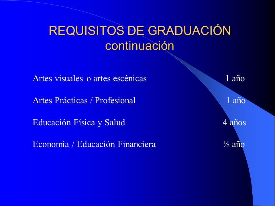 REQUISITOS DE GRADUACIÓN continuación