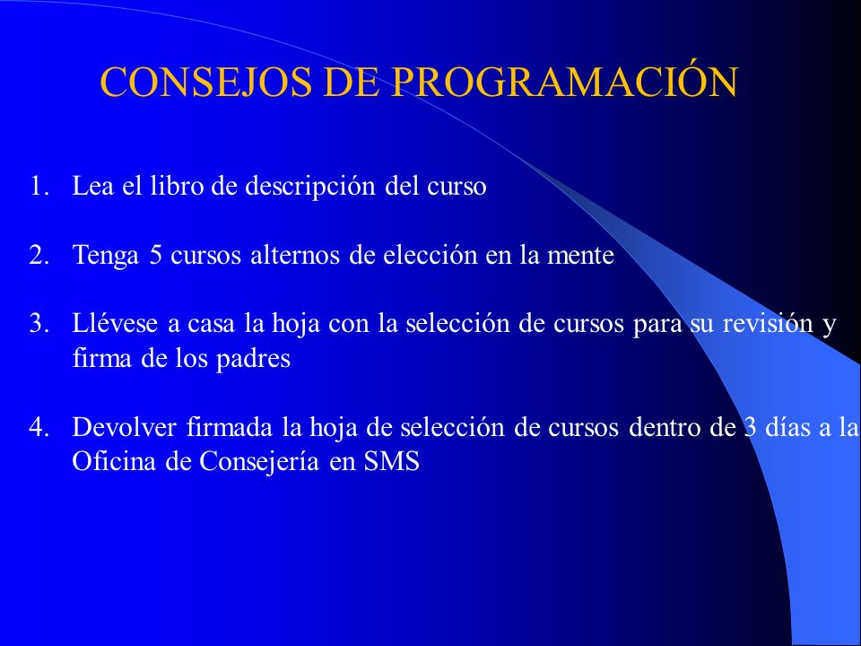 CONSEJOS DE PROGRAMACIÓN