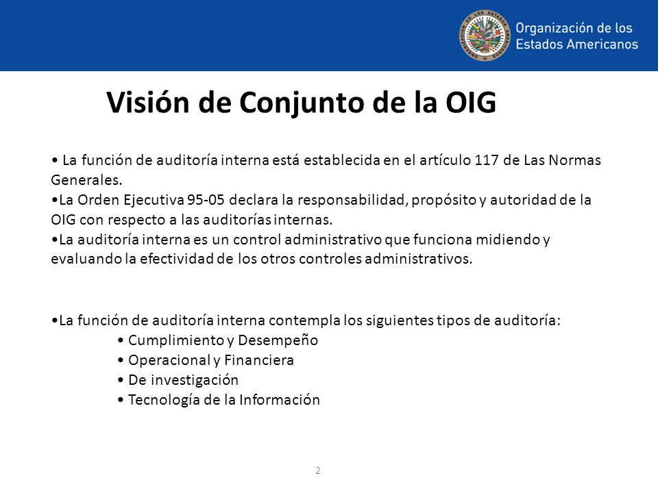 Visión de Conjunto de la OIG