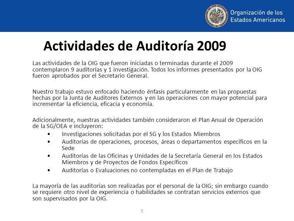 Actividades de Auditoría 2009