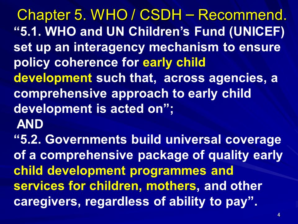 Chapter 5. WHO / CSDH – Recommend.