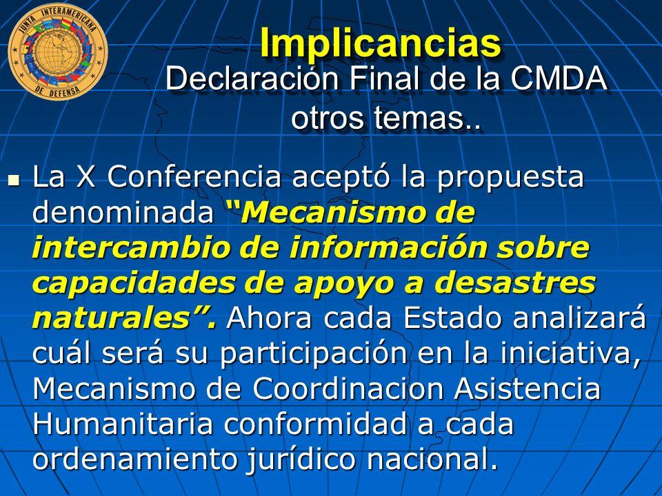 Declaración Final de la CMDA otros temas..