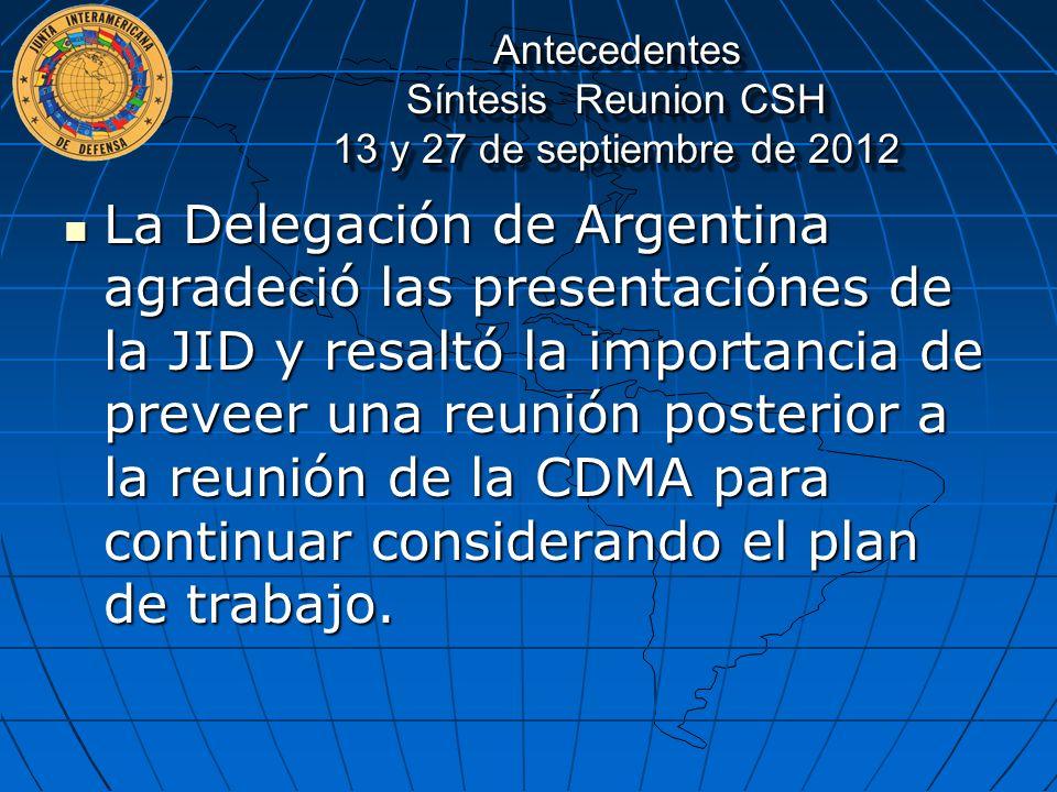 Antecedentes Síntesis Reunion CSH 13 y 27 de septiembre de 2012
