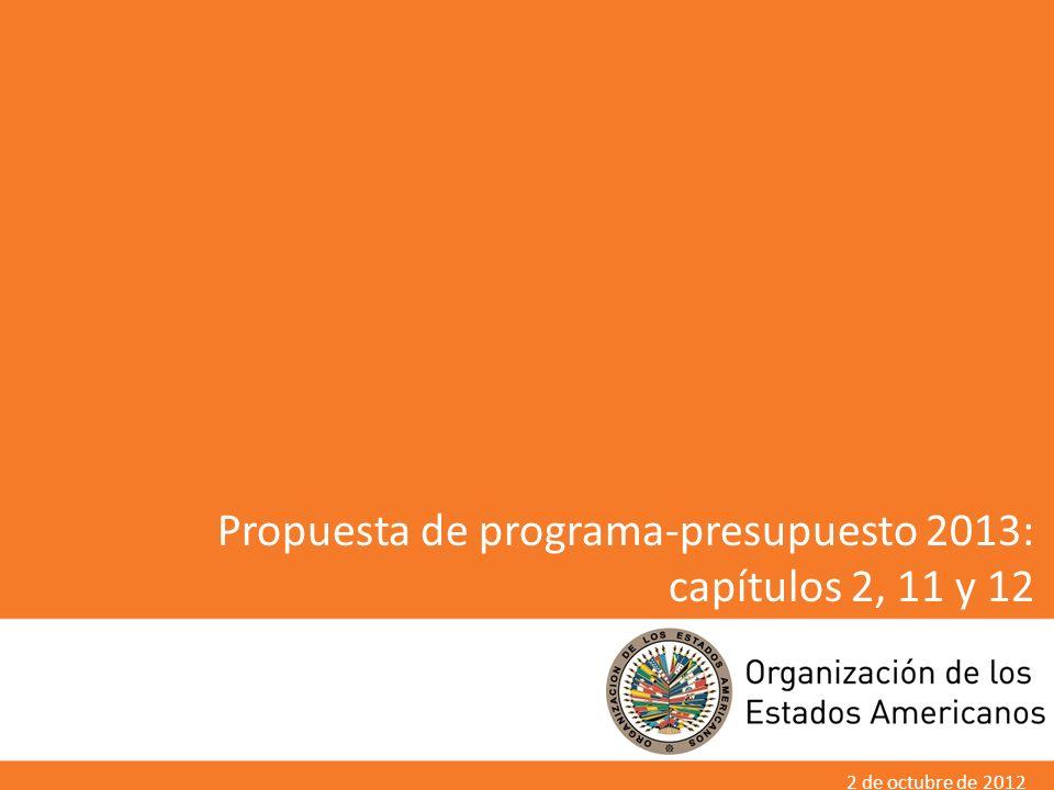 Propuesta de programa-presupuesto 2013: capítulos 2, 11 y 12