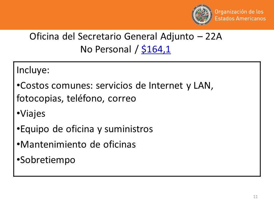 Oficina del Secretario General Adjunto – 22A No Personal / $164,1