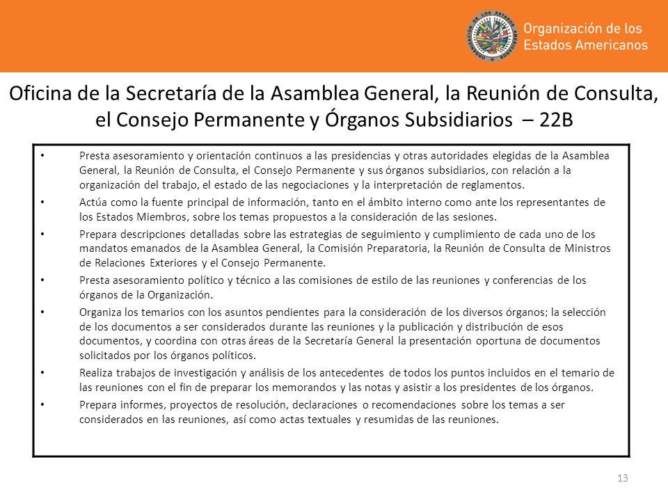 Oficina de la Secretaría de la Asamblea General, la Reunión de Consulta, el Consejo Permanente y Órganos Subsidiarios – 22B