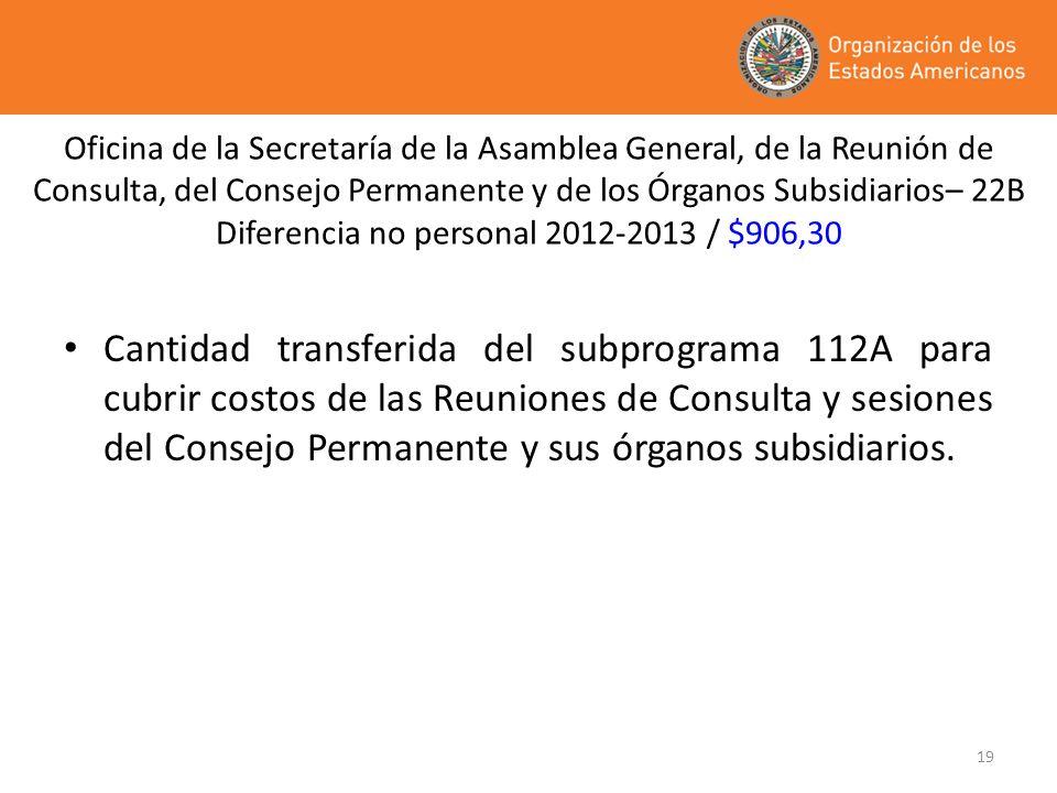 Oficina de la Secretaría de la Asamblea General, de la Reunión de Consulta, del Consejo Permanente y de los Órganos Subsidiarios– 22B Diferencia no personal 2012-2013 / $906,30