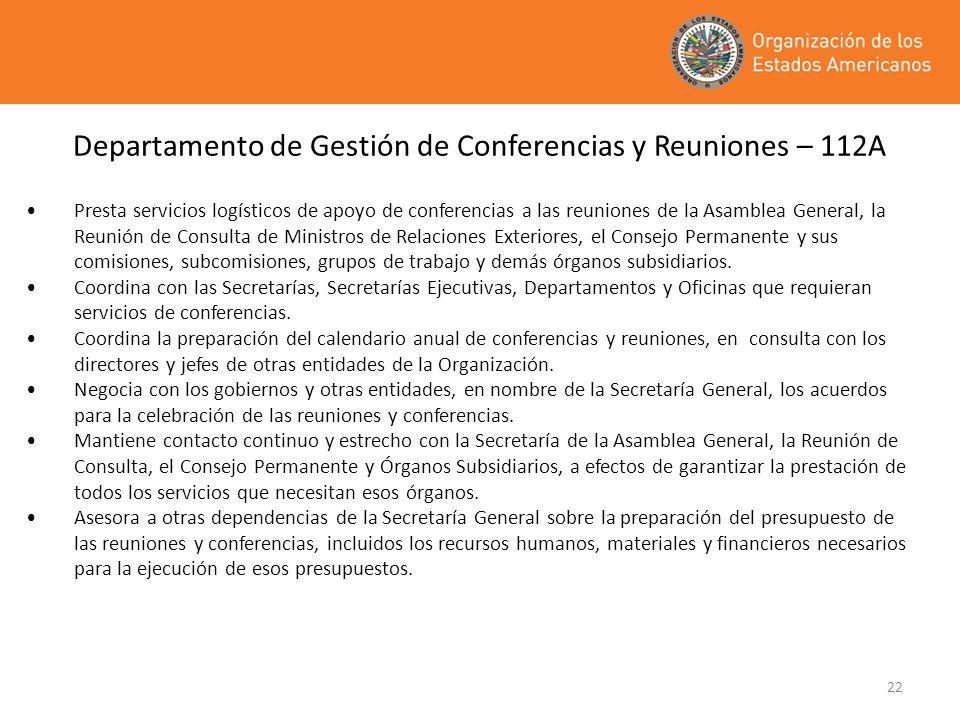 Departamento de Gestión de Conferencias y Reuniones – 112A