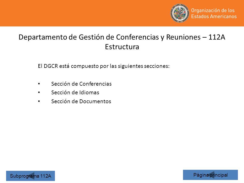 Departamento de Gestión de Conferencias y Reuniones – 112A Estructura